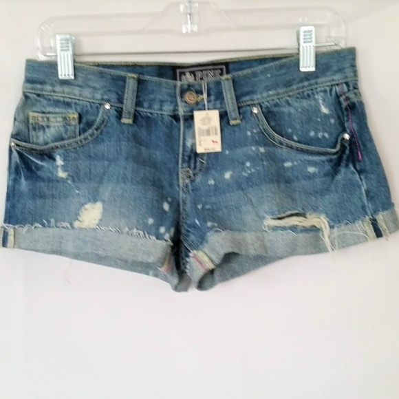 ac9864daa6f04 New Victoria's Secret Pink Denim Shorts Size 2 NWT